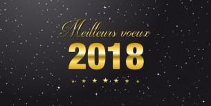 Meilleurs voeux 2018 doré sur fond noir étoilé